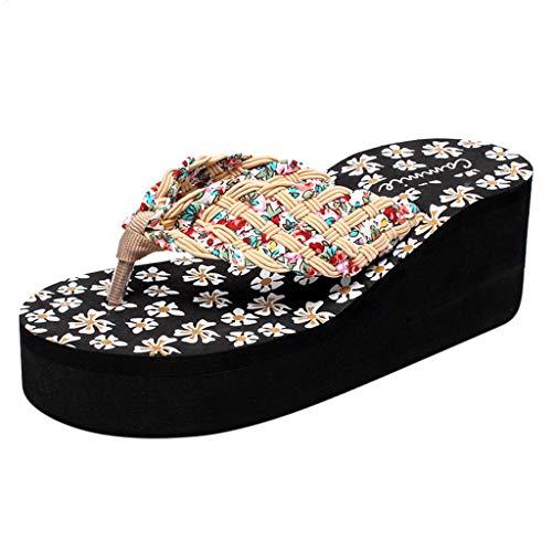 SSYUNO Women's Fashion Platform Wedge Thong Flip Flops Sandals Comfortable Casual Beach Shoes Indoor Outdoor Slippers Beige