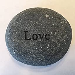 Love Engraved Stone River Rock- 2 inch Gray