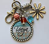 Best Happy Home Monogram Necklaces - Customizable Yaya keychain silver daisy flower charm Pendant Review