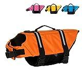 Gtpeak Dog Life Jacket Swimming Vest Saver Professional Flotation Device Reflective Stripe Adjustable Elastic Band Easy Grabbing Different Sizes