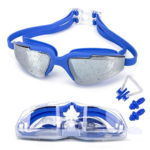 MIGAGA Swim Goggles, Triathlon Glasses ,Anti Fog Cool Design Clear Vision No Leaking UV Protection, Anti-Scratch Swimming Glasses,Free Earplugs And Nose Clip - Sunglasses Crafters Lens