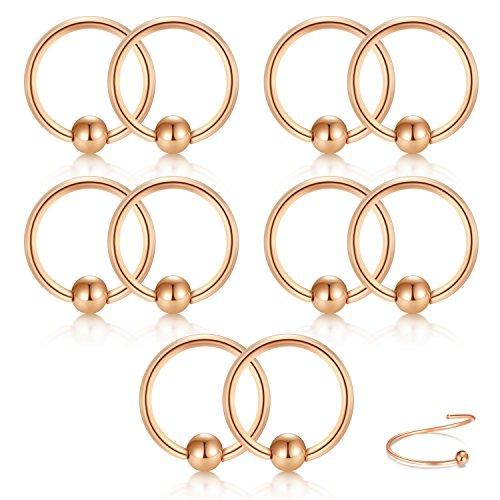 vcmart Cartilage Helix Earrings Hoop Nose Rings Stainless Steel Ear Tragus Piercing 16G 10mm Rose (Ball Closure)