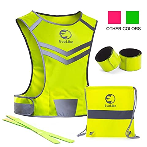 Reflective Vest EvoLike of Unique Design for Running Walking Cycling Jogging Motorcycle with Pocket + 4 High Visibility Wristbands + Bag (Fluorescent Yellow, Size - Price Printed Gift Boxes