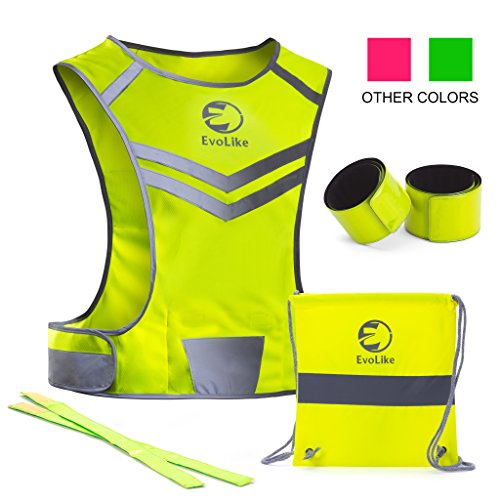 Reflective Vest EvoLike of Unique Design for Running Walking Cycling Jogging Motorcycle with Pocket + 4 High Visibility Wristbands + Bag (Fluorescent Yellow, Size S/M)