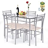 COSTWAY 5 pcs Dining Set Glass Table and 4 Chairs by SpiritOne + Gift Coconut Shell Massage Ball
