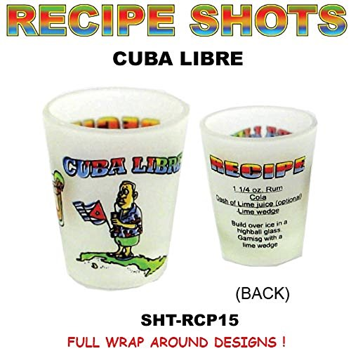 Shot Glass Cuba Libre Recipe Frosted Shot Glass with Comical Character - Novelty Drinking Glass