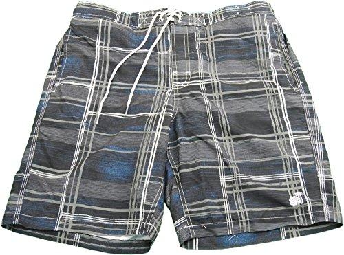 Caribbean Joe Men's Size Large Swim Trunks Black & Gray Plaid