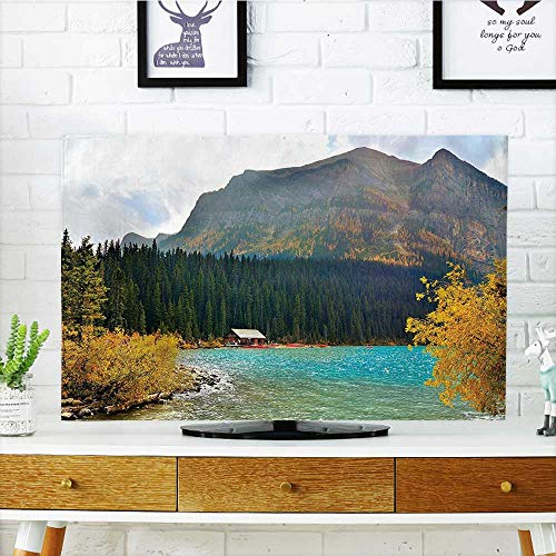 Lake Louise Outlet - Auraisehome TV dust Cover Decor Lake Louise Art in Winter Day National Canadian Peaceful Habitat Green Blue TV dust Cover W19 x H30 INCH/TV 32