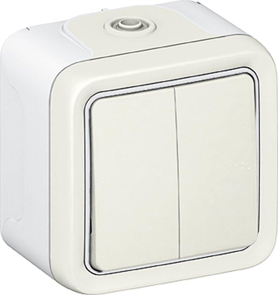 Legrand LEG69916 Double interrupteur ou va et vient apparent complet Blanc Plexo