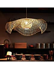 Vintage Bamboe Geweven Hanglamp Natuurlijke Bamboe Geweven Lamp Landelijke Verlichting Hanglamp Handgeweven E27 in Hoogte Verstelbare Hanglamp Villa Slaapkamer Woonkamer Decoratie Kroonluchter,75cm