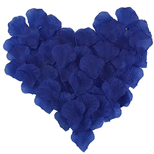 Blue Silk Rose Petals (obmwang 2000 PCS Dark Silk Rose Petals Wedding Flower Decoration Artificial Red Rose Flower Petals for Wedding Party Favors Decoration and Vase Home Decor Wedding Bridal Decoration. Blue)