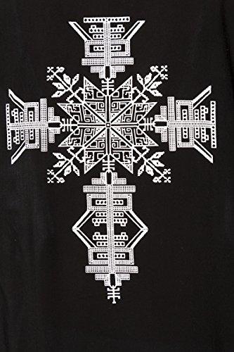 Schwarzer transparenter Kimono mit weißem Ethno Muster und Fransenbordüre kurze Ärmel Strandkleid dunkel