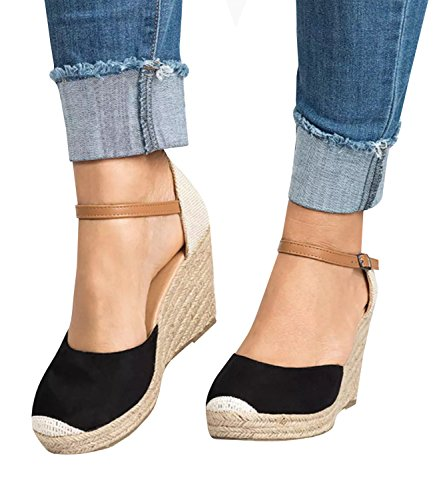 Womens Buckle Black Pxmoda Espadrille Summer Sandals Wedge Suede Shoes Strap Fashion Platform 1wqZad0w