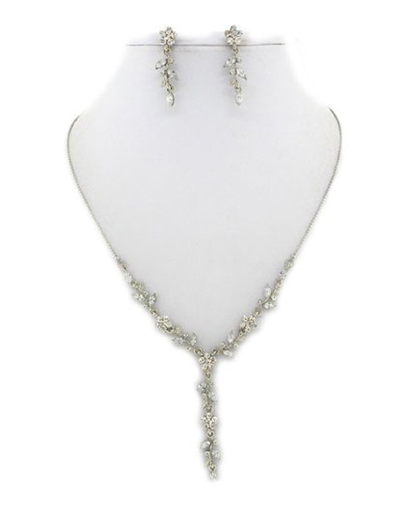 Fashion Jewelry ~ Clear Flowers with Crystals Silvertone Necklace and Earrings Set (Style 112 Cl)