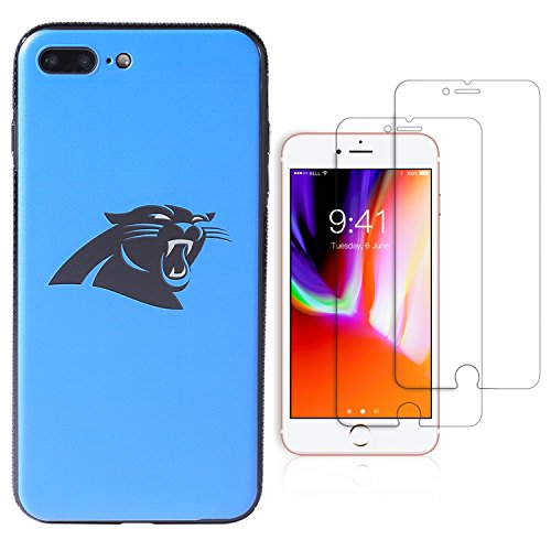 "Sportula NFL Phone Case for iPhone 7 Plus/iPhone 8 Plus (5.5""), Give 2 Premium Screen Protectors Extra Value Set (Carolina Panthers)"
