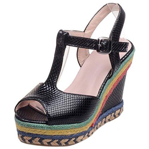 Moda Cuna de Black 1 Mujer Zanpa Tacon Sandalia 1Bw6x57q