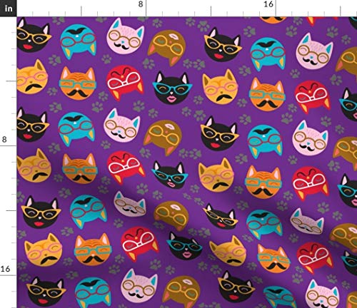 Spoonflower Cat Fabric - Cat Lady Crazy Lady Pet Crazy Cat Lady Funny Print on Fabric by The Yard - Basketweave Cotton Canvas for Upholstery Home Decor Bottomweight -