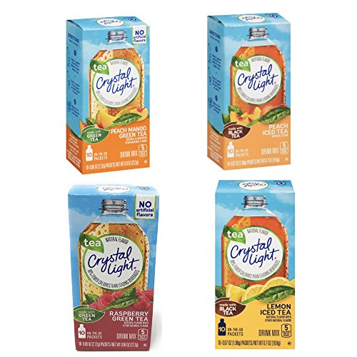 - Crystal Light Tea On the Go Variety 4 pack - Raspberry Green Tea, Peach Mango Green Tea, Lemon Iced Tea, Peach Iced Tea