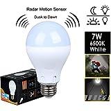 Motion Sensor Light Bulb ,7W(60W Equivalent) Radar Smart Bulb Dusk to Dawn LED Motion Sensor Light Bulbs E26/E27Base Indoor Sensor Night Lights White 6500K Outdoor Motion Sensor Bulb Auto On/Off