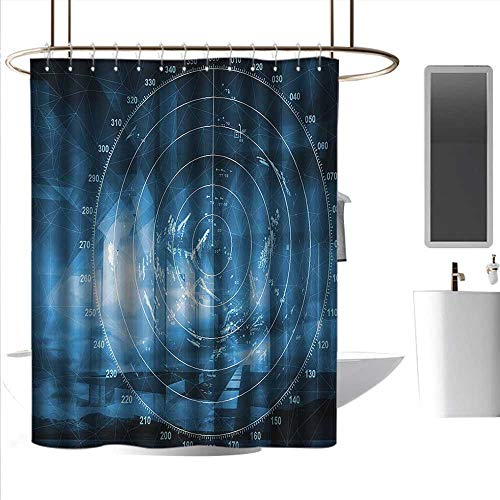 J Chief Sky Bath Curtain Navy Blue,Modern Ship with Radar Exposure in Screen Digital Electronic Hi Tech Futuristic Concept,Blue Rust-Resistant Grommet Holes W48 x L84 Inch