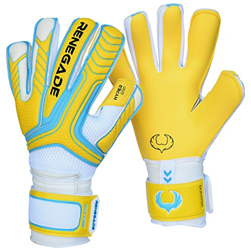 R- GK Vulcan Shockwave Hybrid Cut (Size 8) Soccer Goalie Gloves Youth & Adult With Pro Fingersaves - Improve Goal Blocking - Latest Soccer Goalie Equipment - Men, Women, Boys, Girls, Youth, Jr (Palm Hybrid)