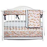 3 Pieces Set Fox Grey Chevron Crib bedding set Baby Crib Nursery Bedding Set (Fox)