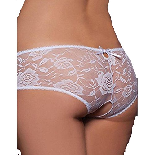 Pizzo Aperto Crotchless Slip Bianco Brief Trasparente Culotte Panties Intimo Sexy Donne Donna per Mutandine Ncient Floreale Lingerie nw1xqIpI0