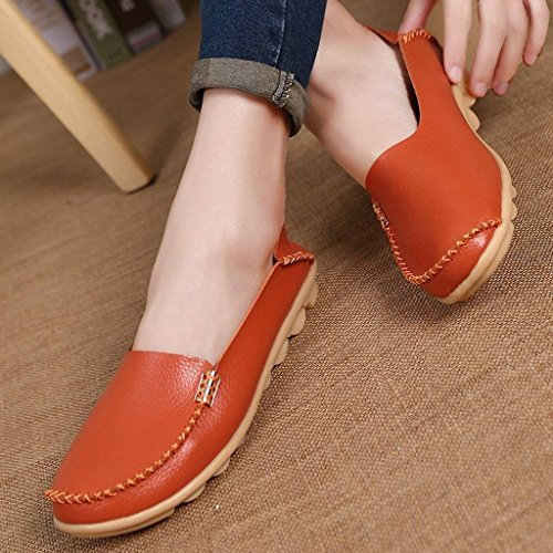 Loafers Casual Moccasin Ons Slip Womens Shoes Fangsto Flat Driving Cowhide Slipper Orange EwqOUnTI1