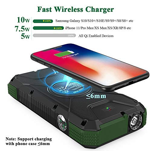 Solar Power Bank,Solar Charger,20000mAh PD 18W& QC3.0 Fast Charger for Phone,Portable Wireless Charger with LED Flashlight and Compass Outdoor Solar Panel Charging by LEO WAY,Green