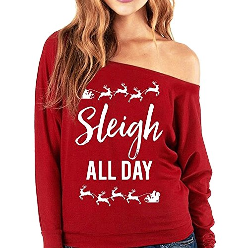 Clearance! Sleigh ALL DAY Women Sexy Off The Shoulder Slouchy Oversized Sweatshirt Casual Tops Pullovers