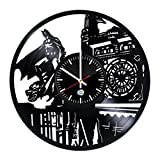 BATMAN DC Vinyl Record Wall Clock – Get unique bedroom or garage wall decor – Gift ideas for teens, brother, men, boys – Action Figures Vintage Unique Art Design For Sale