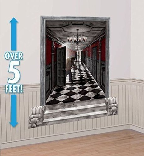 Lunarland GOTHIC HALLWAY Scene Setter Haunted House Halloween Party Decorations Wall -