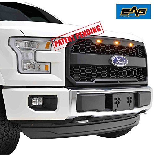 EAG Replacement ABS Grille - Matte Black - With Amber LED Lights for 15-17 Ford F150 (Honeycomb Main Grille)