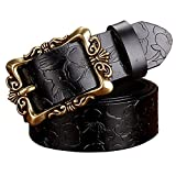 PU Leather Belts For Women Vintage Floral Pin Buckle Black Big Flower 110cm