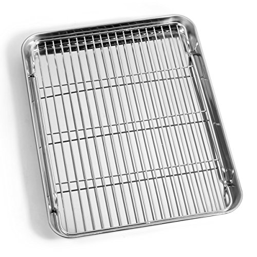 Bastwe Baking Sheet and Cooling Rack Set, Stainless Steel Cookie sheet and Nonstick Rack set, Recetangle 12 x 9 x 1 inch, Non Toxic & Healthy, Rust Free & Mirror Finish, Easy Clean & Dishwasher Safe by Bastwe