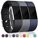 Maledan Bands Fitbit Charge 2, Black Blue Gray Large