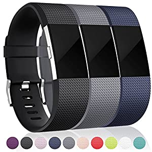 Maledan Bands for Fitbit Charge 2, Black Blue Gray Large