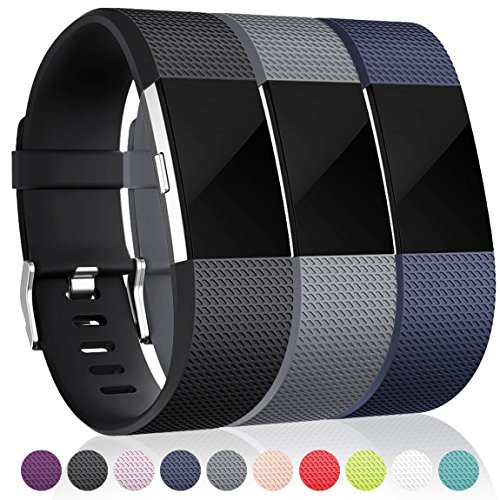 Bands for Fitbit Charge 2, Black Blue Gray Large