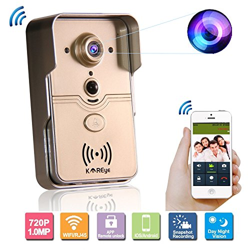 KAREye Smart Home WiFi Remote Video Door Phone Intercom Doorbell Camera HD 720P Support P2P Alarm IR Night Vision Supports iOS/Android System -  N3066HH-E
