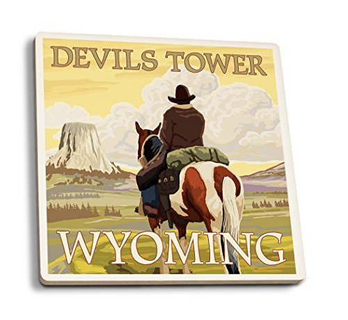 Lantern Press Devils Tower, Wyoming - Cowboy and Devils Tower (Set of 4 Ceramic Coasters - Cork-Backed, Absorbent) ()