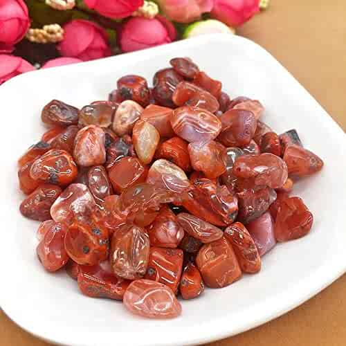 FidgetFidget Natural Red Agate Quartz Raw Crushed Gravel Rough Rock Crystal Stone 50g