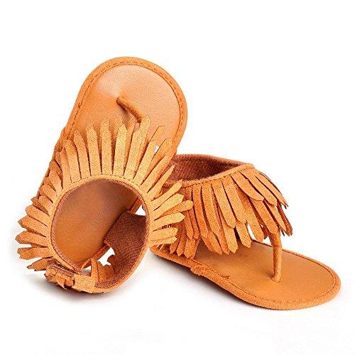 Miuye Kid's Shoes Baby Infant Kids Girl Boys Soft Sole Crib Toddler Newborn Tassels Sandals Shoes Toddler/Big Kid Brown