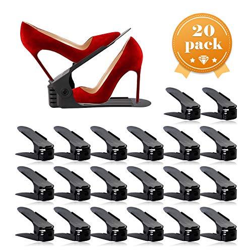 AQUAPRO Shoe Slots Organizer, Adjustable Shoe Stacker Space Saver, Double Deck Shoe Rack Holder for Closet Organization (20-Pack)(Black)