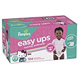 Pampers Easy Ups Training Girls Underwear, Size 6 (4T-5T), 104 Count