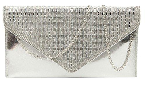 Clutch Silver Diamante Evening Evening Girly HandBags Bag Bag Diamante Clutch Girly HandBags zwxSRqZ