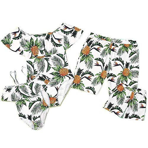 PatPat Mommy and Me Swimsuit One Piece Pineapple Printed Family Matching Swimwear Men: M Green from Yaffi