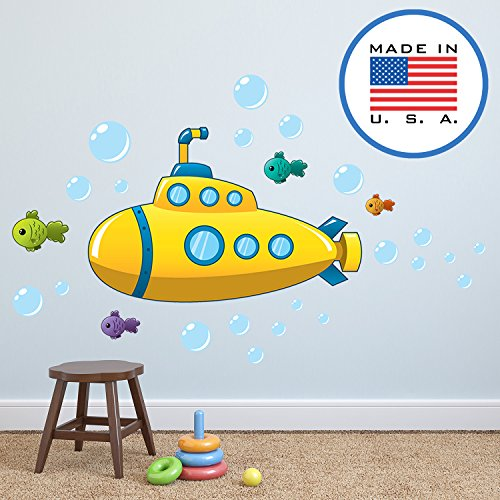 Yellow Submarine Cartoon - WallClipz Yellow Submarine with Fish FABRIC Wall Decals - Sea Diving Ocean Nautical Cartoon Stickers, Boys Girls Nursery Removable Decor - Made in the USA, Large