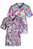 Minty Mint Women's Medical Scrub Printed V-Neck Top Multi Pack White Blue S(452)