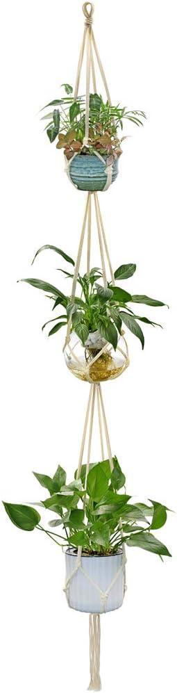 WITUSE Macrame Plant Hanger, Indoor Outdoor Plant Hanger Hanging Flower Pot Cotton Holder Simple- 3 Tiers , Modern Boho Decor,Size L, 82inch 2.1m