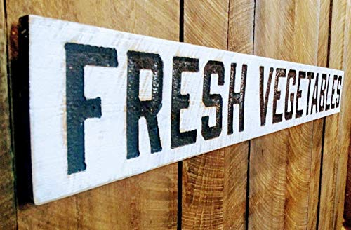 """FRESH VEGETABLES Sign Horizontal 60""""x8""""- Carved in Wood Lumber"""